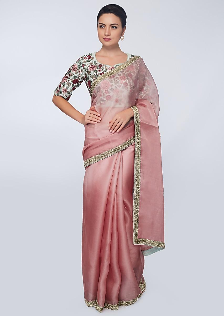 454ca797b3c50 Punch pink organza saree with heavy embroidered border only on KalkiMore  Detail