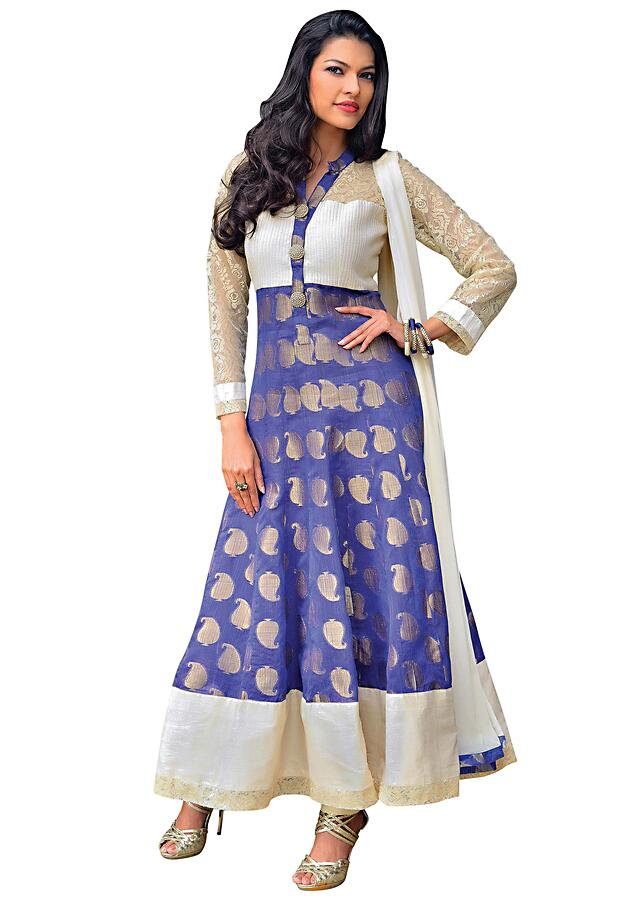 Purple anarkali suit featuring with chantilly lace