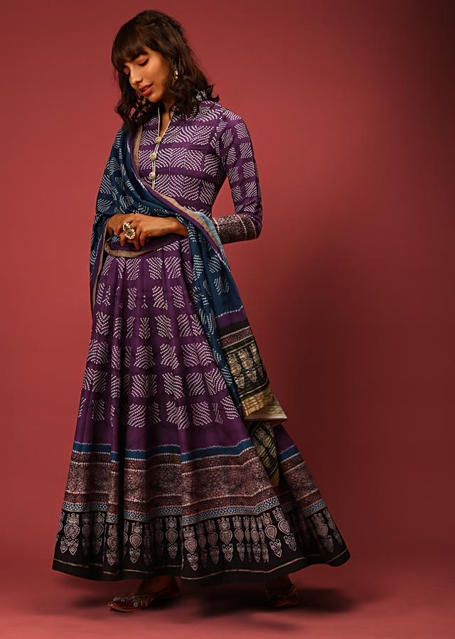 Purple Anarkali Suit In Silk With Bandhani Design All Over And Black Border With Ethnic Print Online - Kalki Fashion
