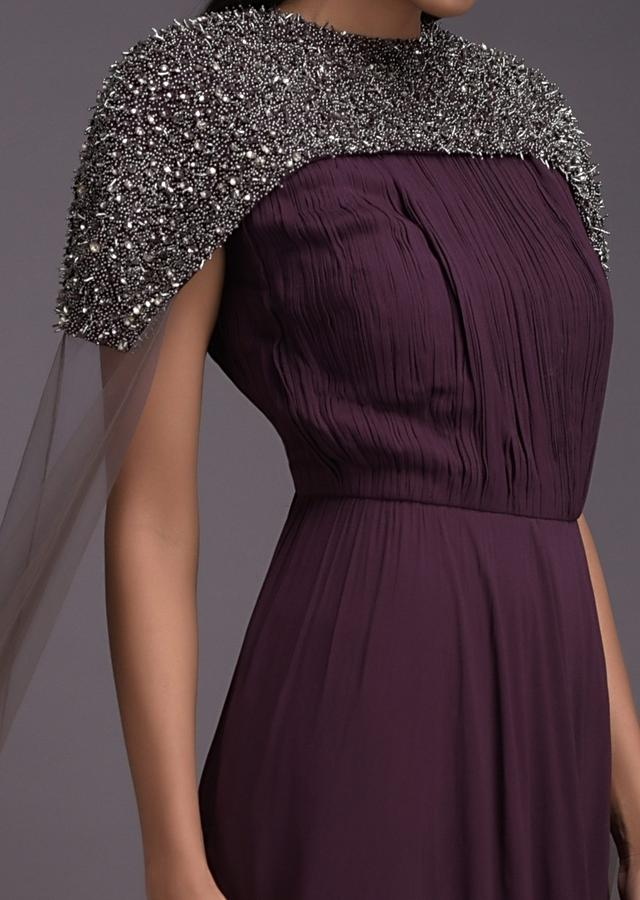 Purple And Grey Ombre Indowestern Gown With Embellished Cape Having Extended Sleeves Online - Kalki Fashion