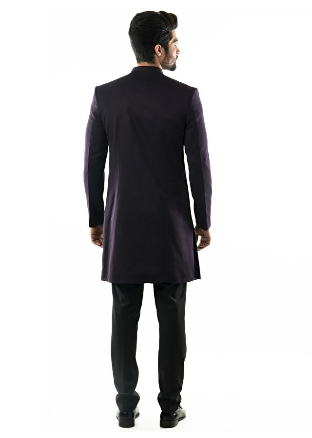 Purple Asymmetric Achkan With Horizontal And Vertical Pin Tucks Detailing And Slim Fit Trousers Online - Kalki Fashion