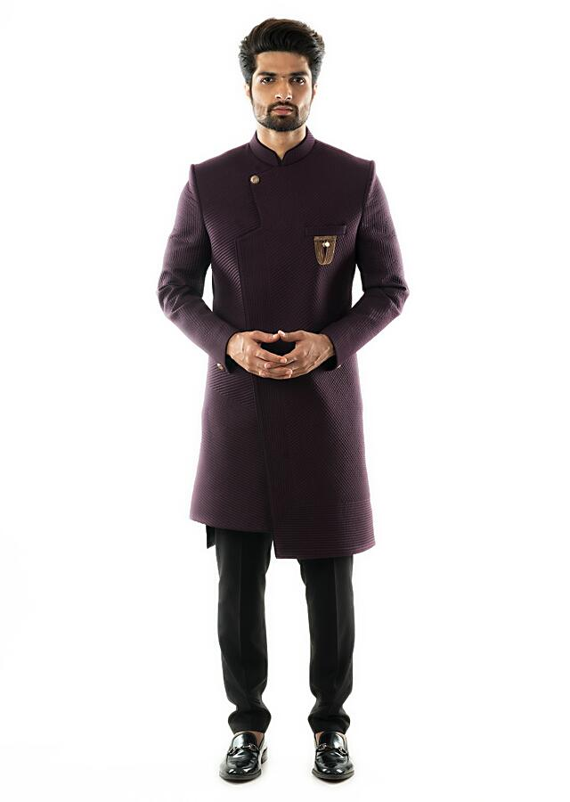 Purple Asymmetric Achkan With Quilting Detail And Matching Slim Fit Trousers  Online - Kalki Fashion
