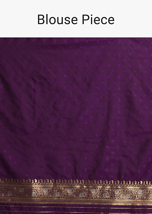 Purple Banarasi Saree In Pure Handloom Silk With Woven Floral And Paisley Buttis In Diagonal Pattern Along With Unstitched Blouse Piece Online - Kalki Fashion
