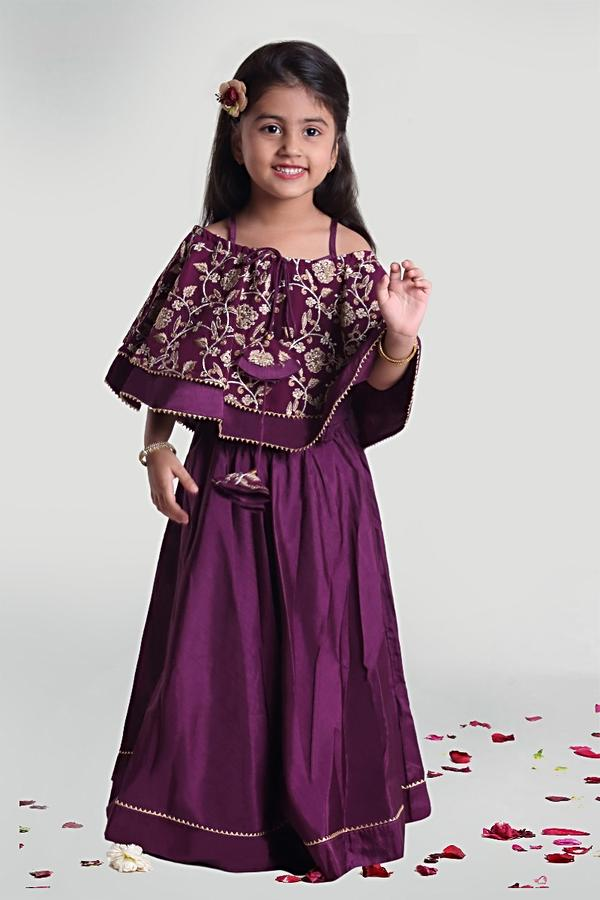 Purple Circular Skirt With Resham And Zari Embroidered Cape Styled Choli By Mini Chic