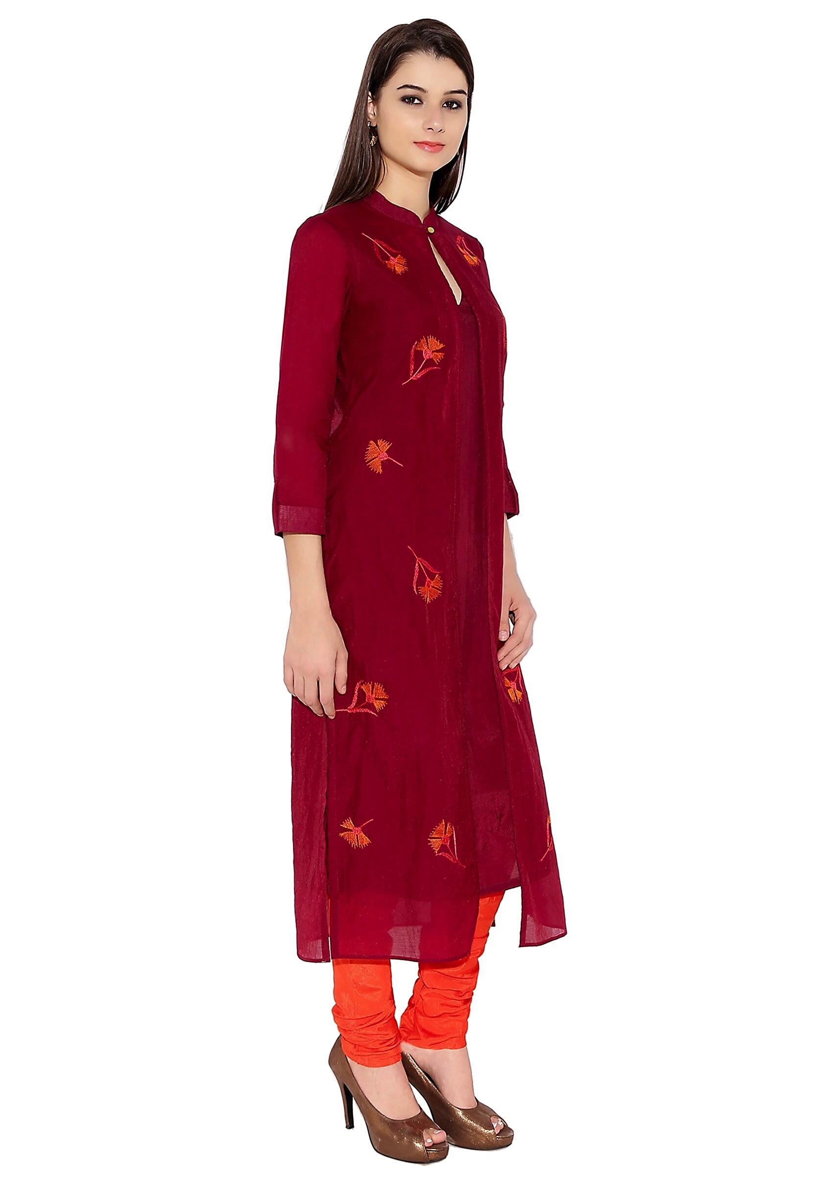 74ac88e5252 Maroon Cotton Kurti With Jacket Style And Thread Flower Embroidery Only On  Kalki