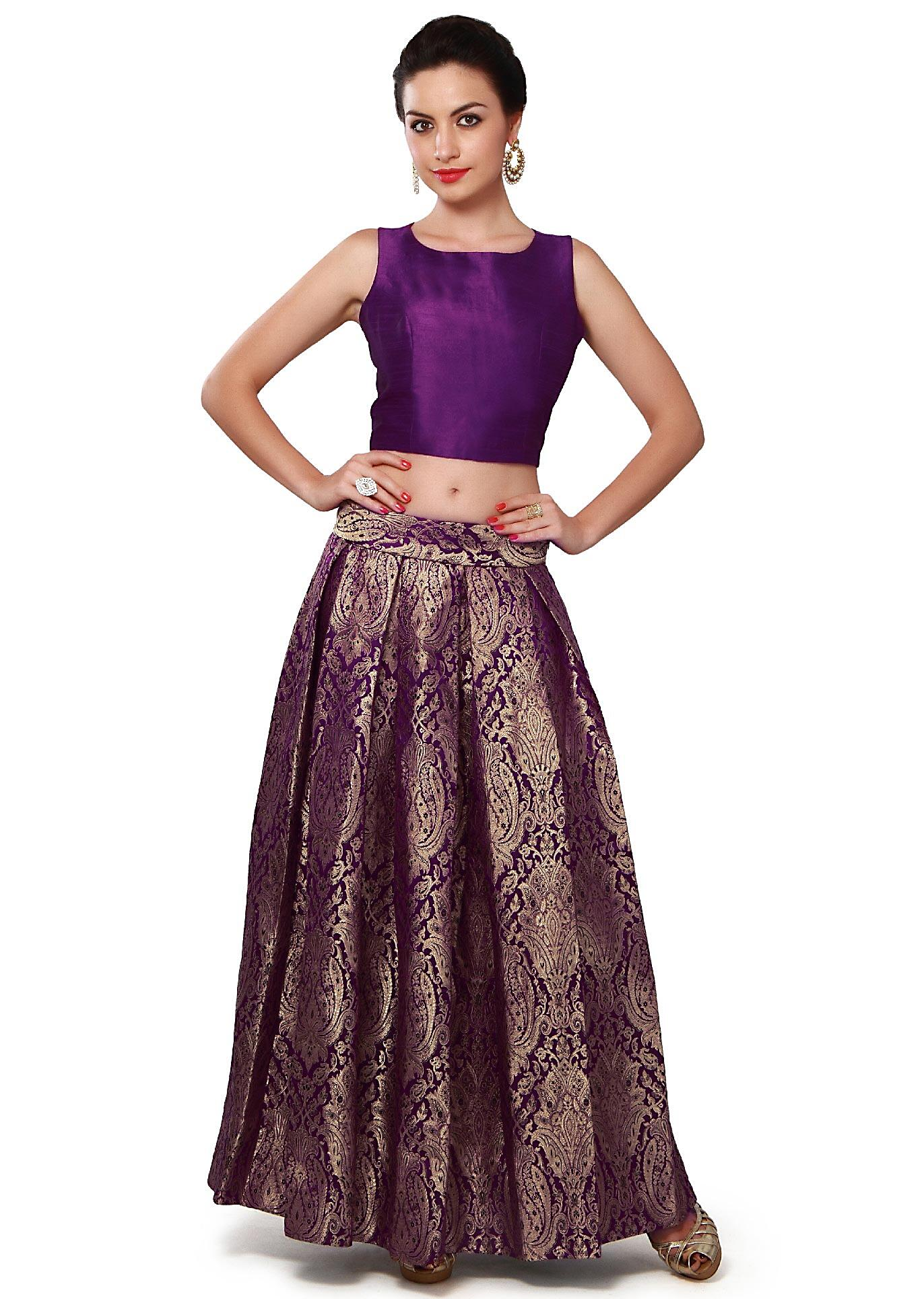 42d635b0d4950f Purple crop top and skirt featuring in brocade only on KalkiMore Detail