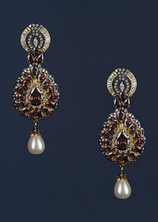 Purple Crystal Studded Drop Shaped Danglers With Stones And Dangling Pearl Online - Kalki Fashion