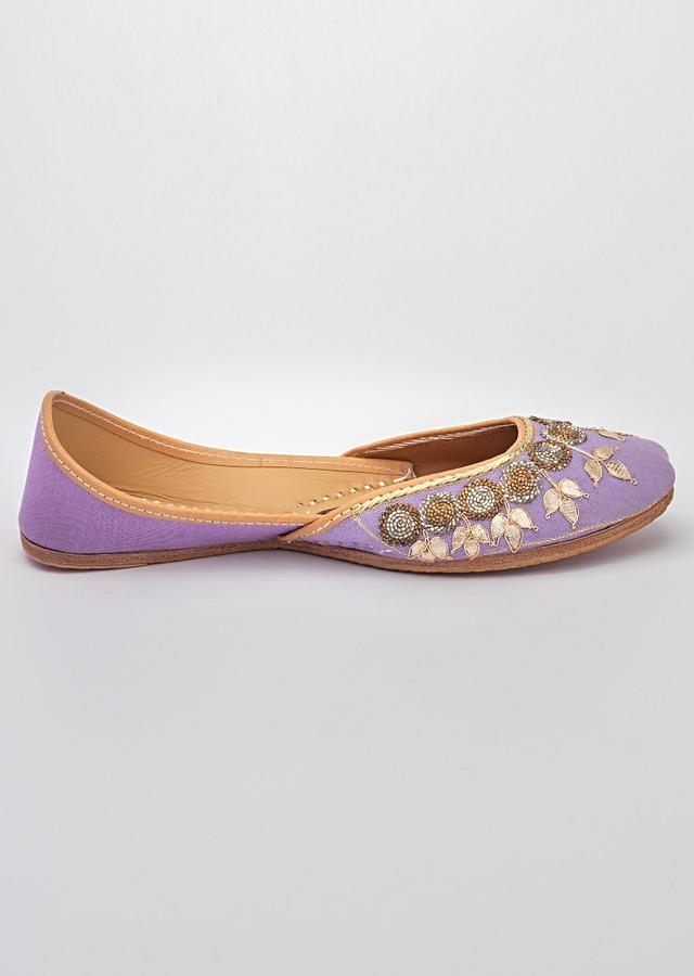 Purple Juttis In Linen With Gotta Work Along With Silver And Dull Gold Cut Dana By Vareli Bafna