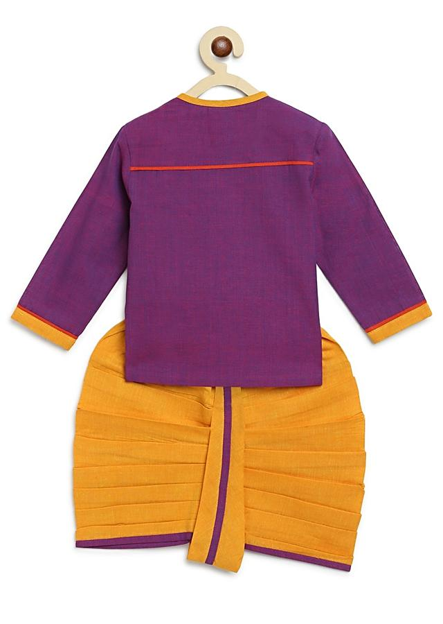 Purple Kurta And Dhoti Set With Resham Embroidered Sacred Cow Motif By Tiber Taber