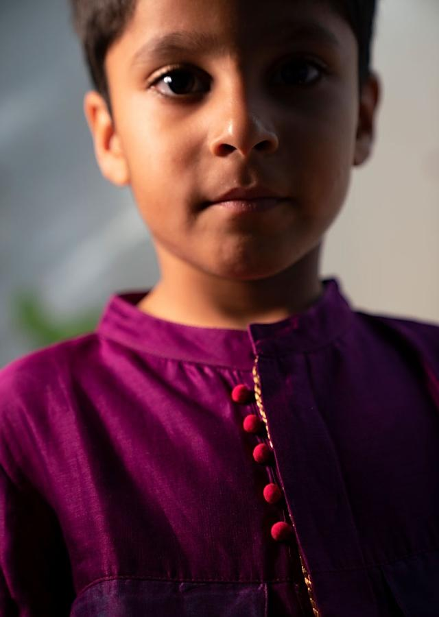 Purple Kurta Shirt With Contrast Potli Buttons And Dhoop Chau Pocket Details Love The World Today