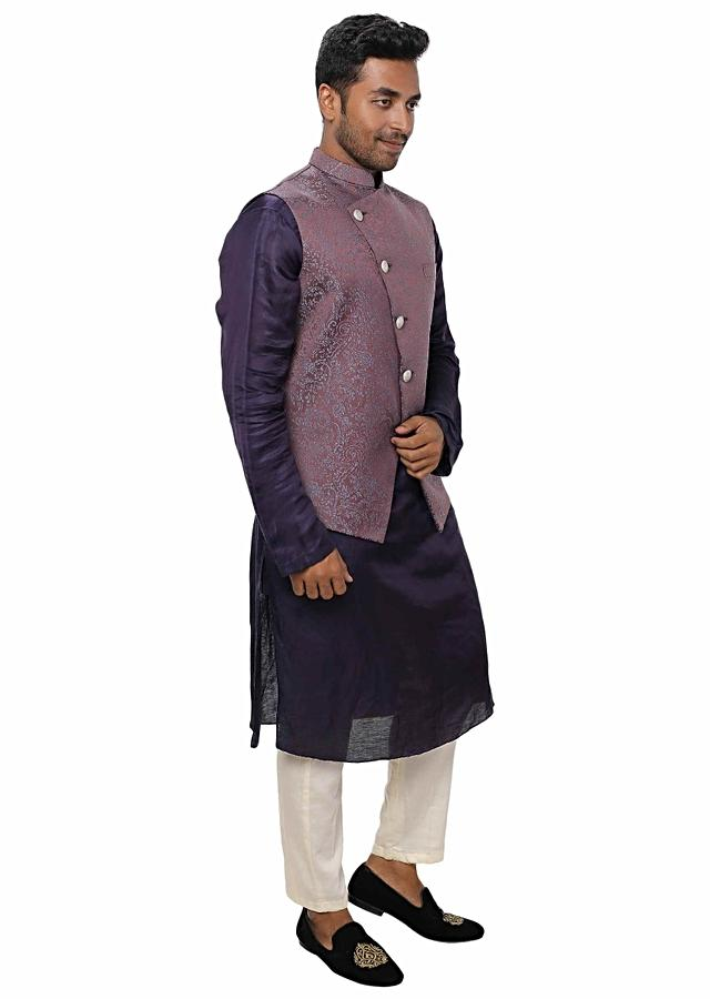 Purple Kurta With Side Button Panel Paired With A Overlap Textured Nehru Jacket Online - Kalki Fashion