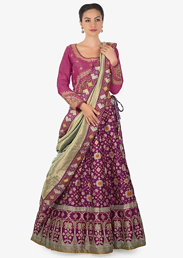 Purple Lehenga Matched With Rani Pink Embroidered Blouse In Brocade Dupatta Online - Kalki Fashion