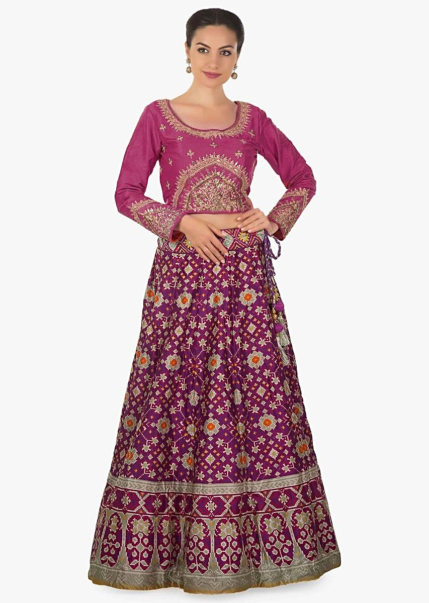 1ea1c6886b Purple lehenga matched with rani pink embroidered blouse in brocade dupatta  only on KalkiMore Detail