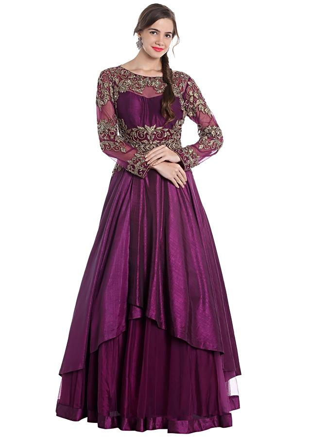 Purple raw silk and net gown with zari hand work only on Kalki