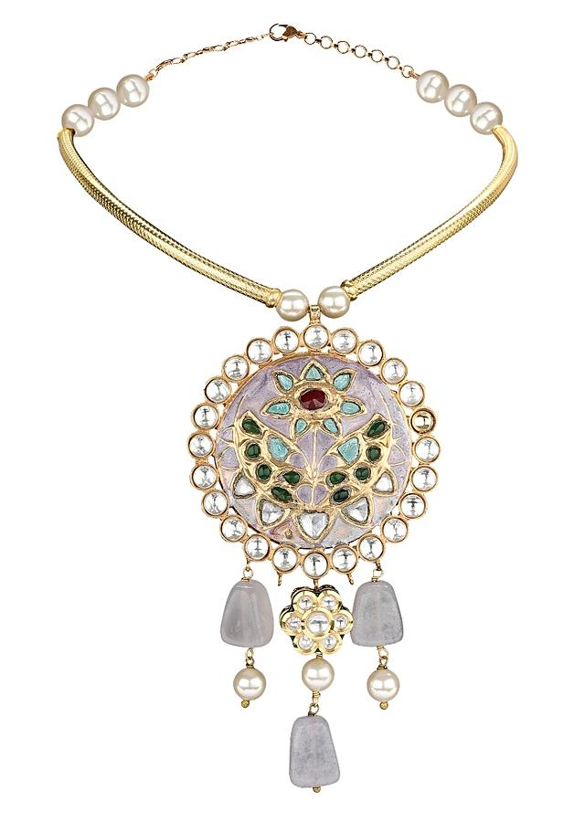 Purple Stone Earing And Necklace Set With Gold Plated Pipe, Shell Pearl And Purple Minakari Pendant  Online - Joules By Radhika