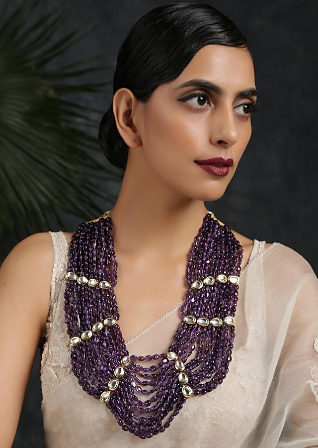 Purple Stone Necklace With Multiple Strands Held Together With Gold Plated Kundan Highlights By Paisley Pop