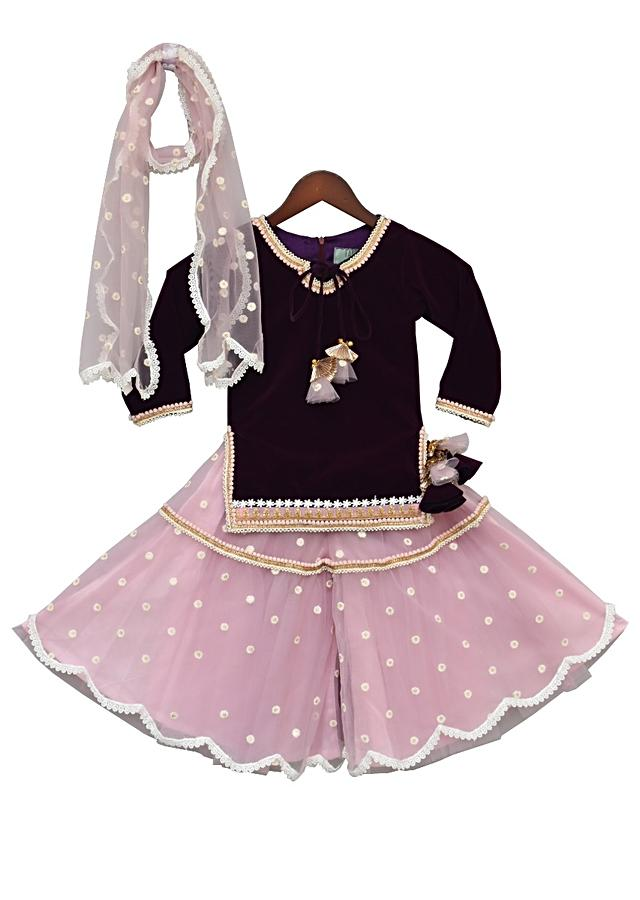Purple Kurti In Velvet With Pink Sharara And Net Dupatta by Fayon Kids