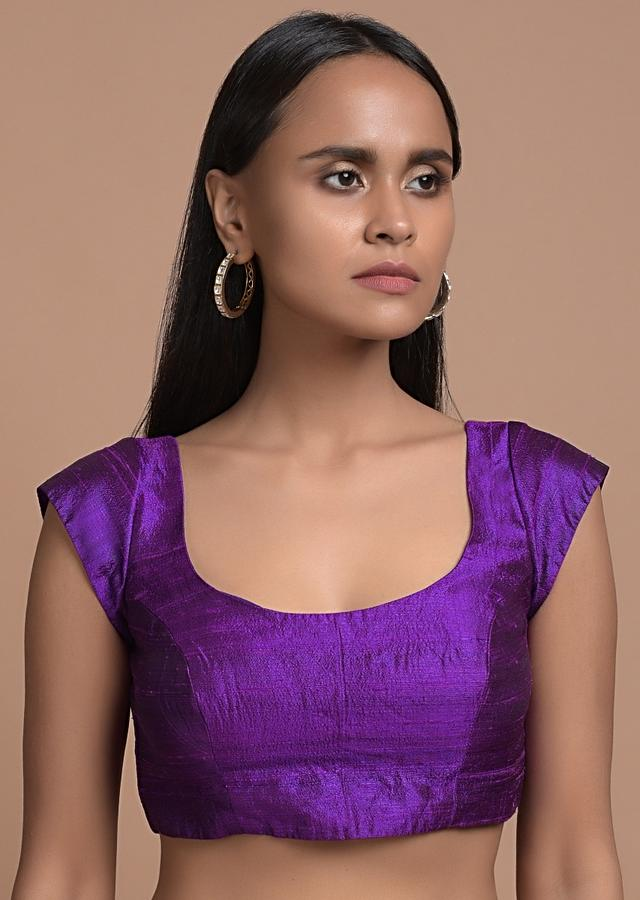 Purple Blouse In Raw Silk With Cap Sleeves And Scooped Neck Online - Kalki Fashion