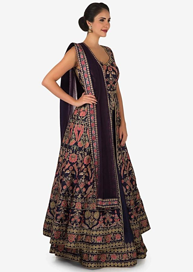 Purple lehenga with front slit jacket adorn in beautiful floral prints only on Kalki