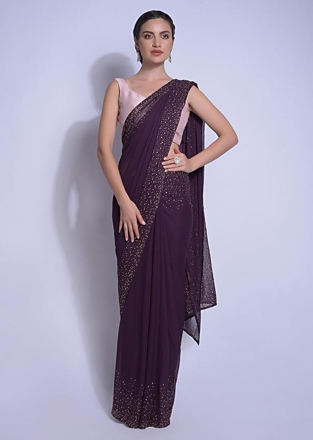 Eggplant Purple Saree In Georgette With Kundan Work On The Border And Pallu Online - Kalki Fashion