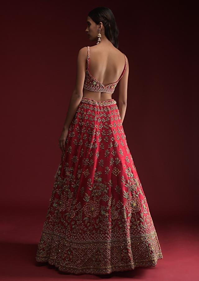 Crimson Red Lehenga Choli With Hand Embossed Embroidery Detailing In Blooming Floral Motifs Online - Kalki Fashion