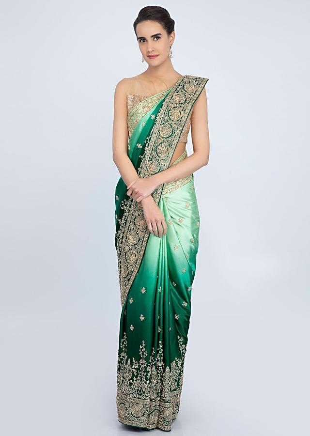 Rama Green And Pista Green Shaded Saree In Satin With Floral Embroidered Butti And Border Online - Kalki Fashion