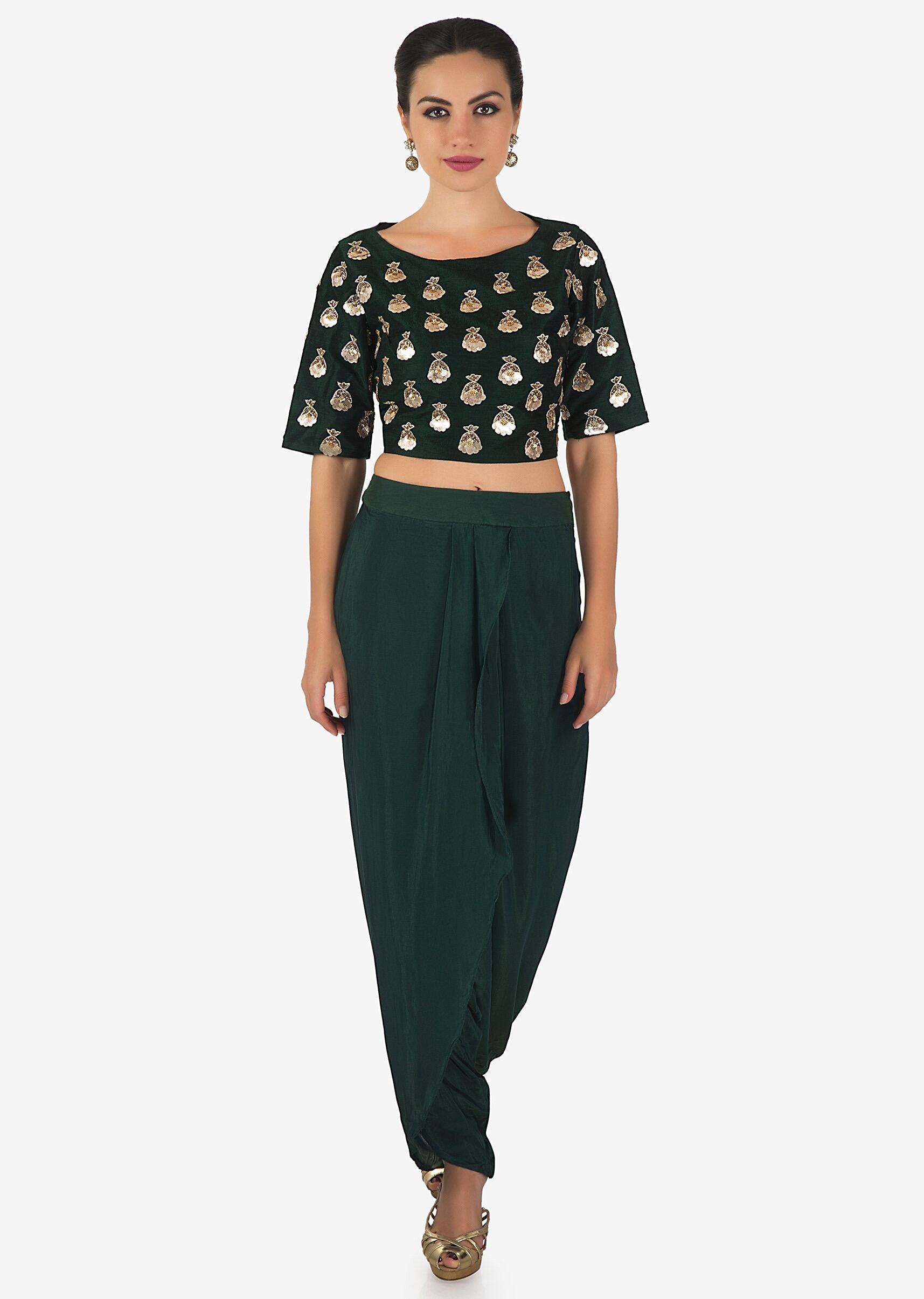 94c15e4d9ae6c6 Rama green crop top matched with dhoti pants only on KalkiMore Detail