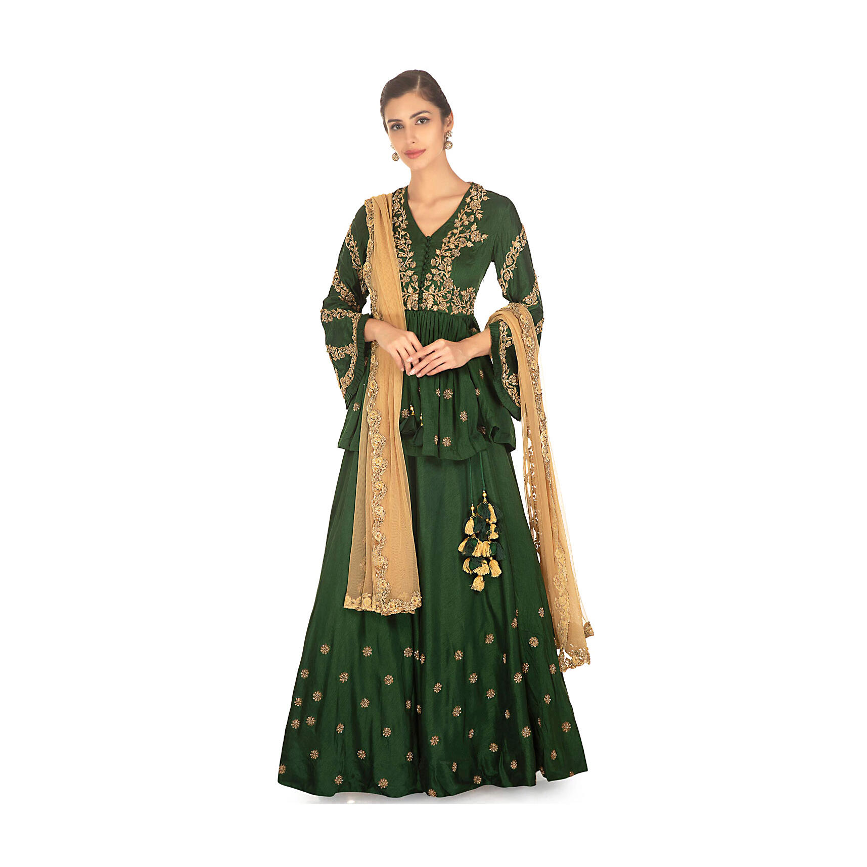 d2470293dd9f0 Rama green lehenga paired with embellished peplum top and a contrasting  beige net duppata only on Kalki