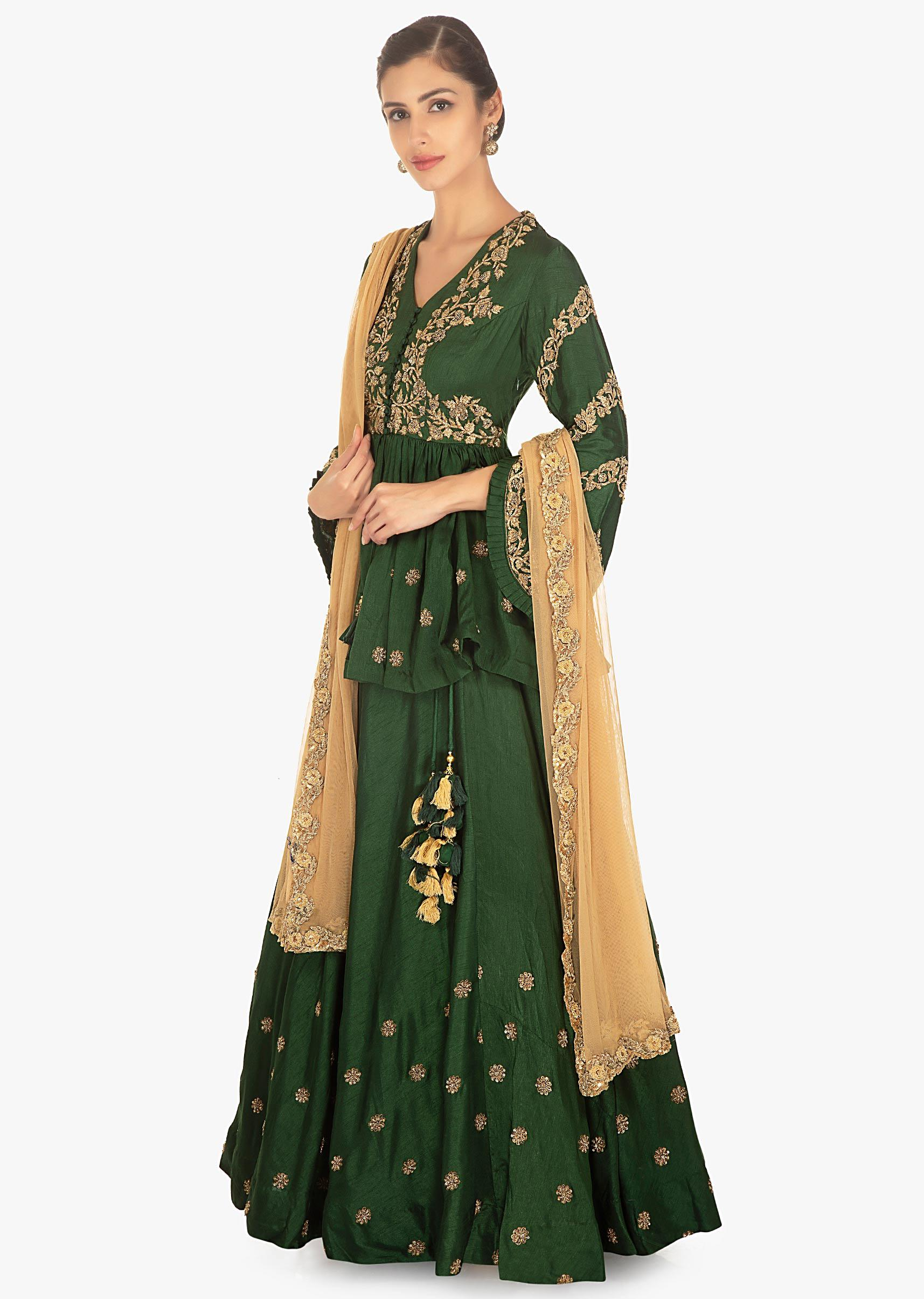 96b3578aaee3be Rama green lehenga paired with embellished peplum top and a contrasting  beige net duppata only on Kalki