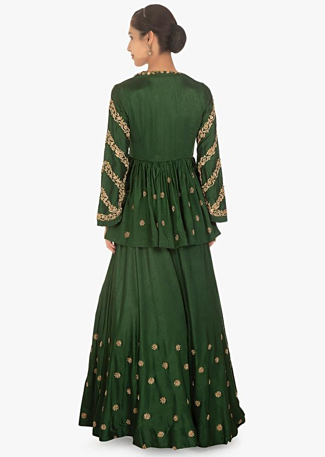 Rama Green Lehenga Paired With Embellished Peplum Top And A Contrasting Beige Net Duppata Online - Kalki Fashion