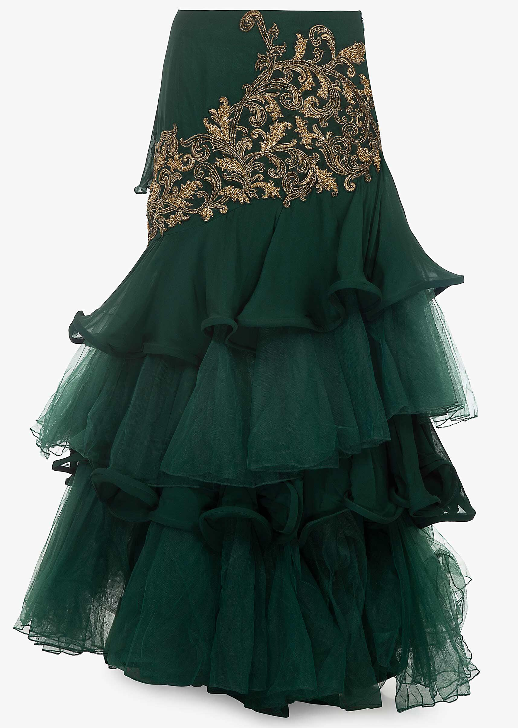 b503d2cdb0 Rama green off shoulder crop top paired with a georgette and net layered  skirt with an attached dupatta ...