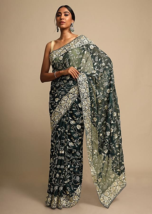 Rama Green Saree In Georgette With Resham Embroidered Floral Jaal Online - Kalki Fashion
