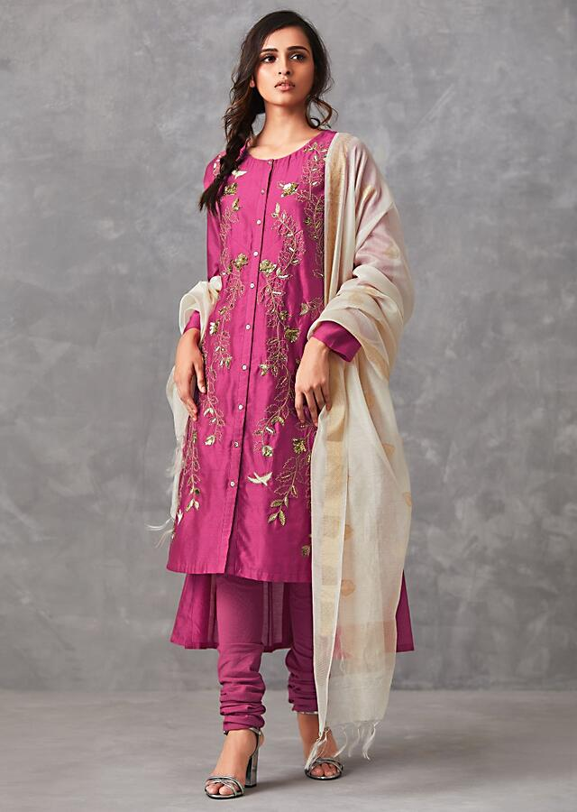 Rani Pink A Line Suit Adorned In Bird Motif Embroidery Along With Sequin Work Online - Kalki Fashion