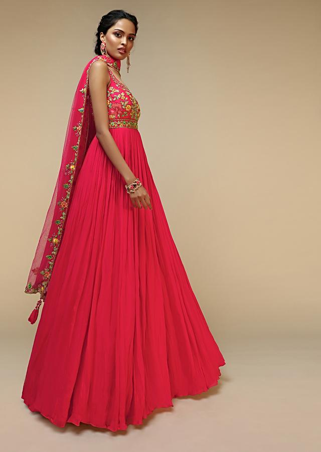 Rani Pink Anarkali Suit In Crushed Georgette With A Hand Embroidered Bodice Adorned In Multi Colored Resham And Sequins Work Online - Kalki Fashion