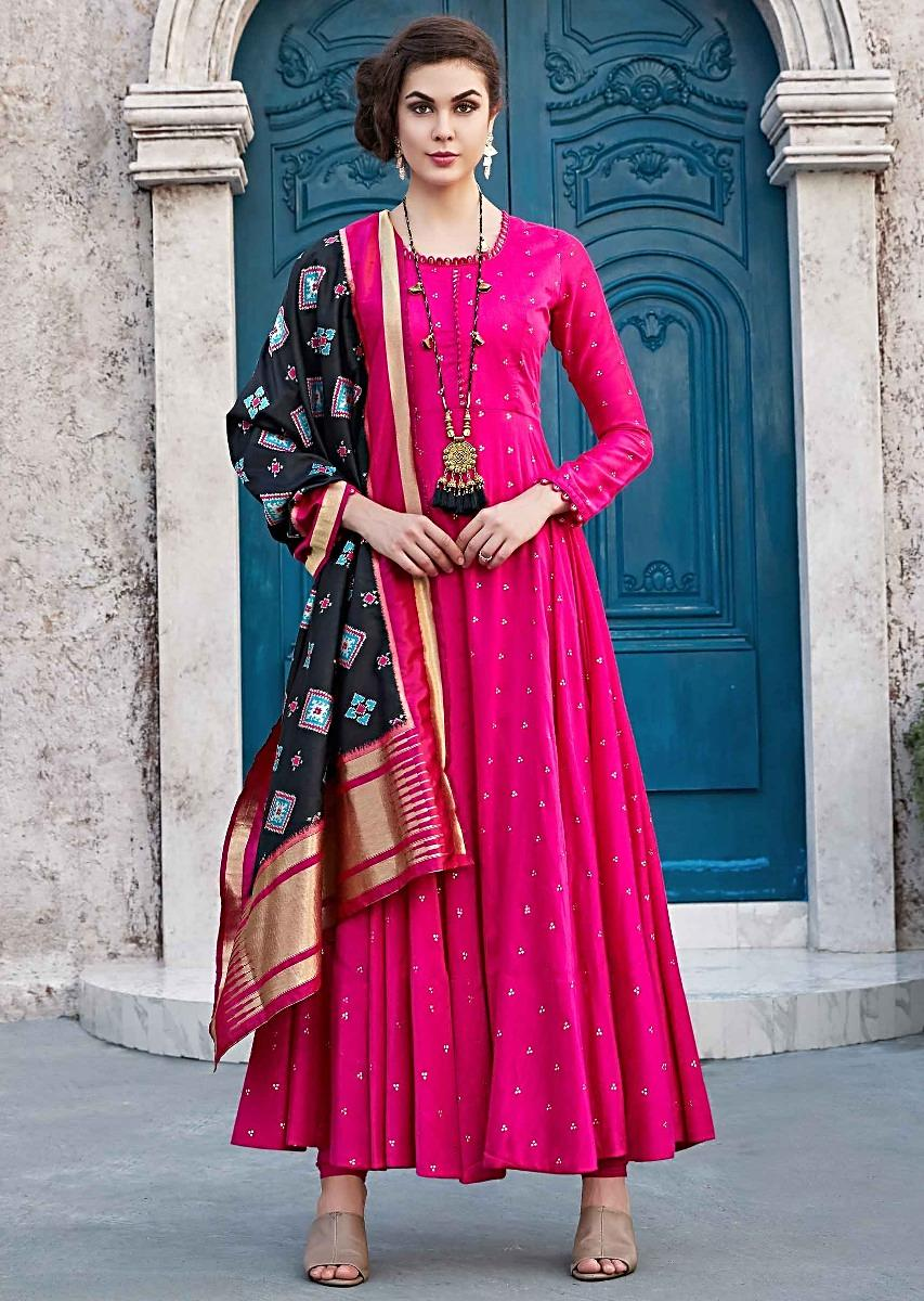 3aad5bc75a Rani pink anarkali suit with black silk dupatta