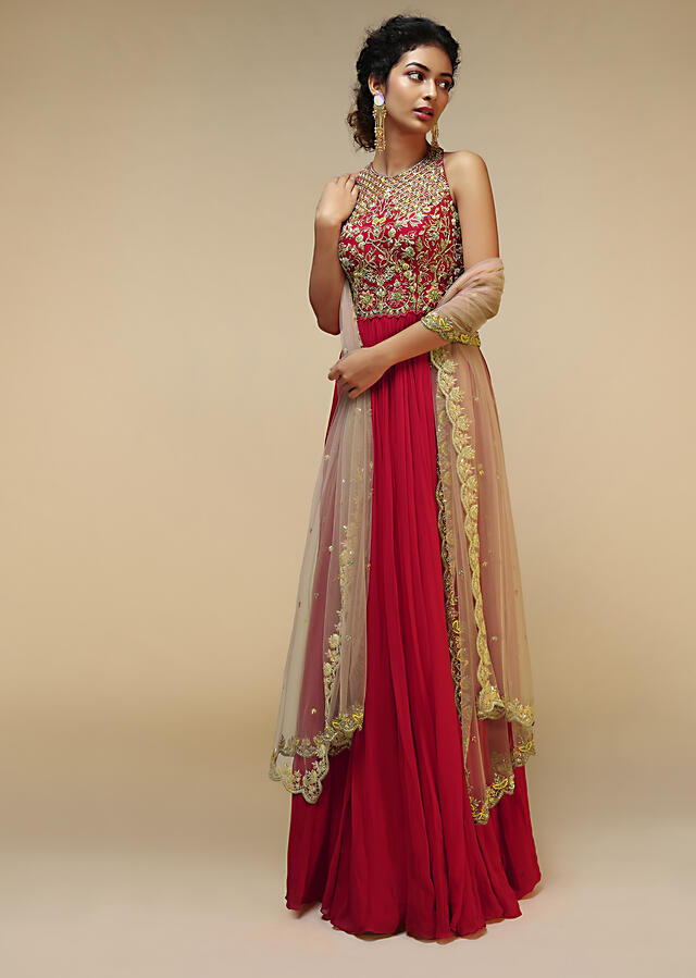 Rani Pink Anarkali Suit With Halter Neckline And Adorned In Multicolored Hand Embroidered Floral Design On The Bodice Online - Kalki Fashion