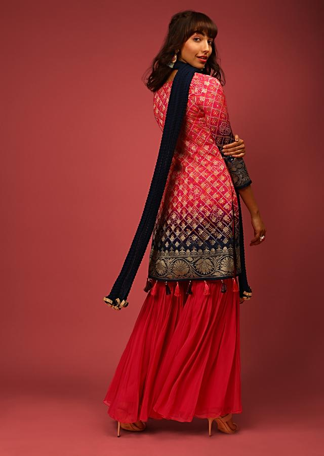 Rani Pink And Navy Blue Ombre Sharara Suit In Brocade Silk With Bandhani Jaal And Tassels On The Hemline Online - Kalki Fashion