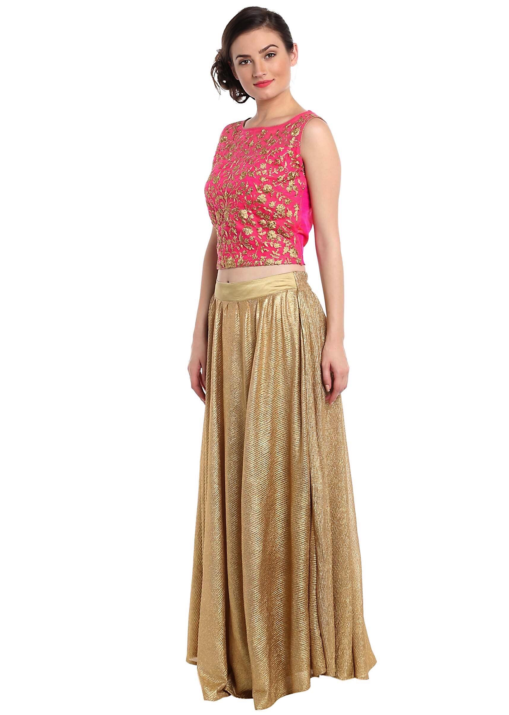 5a84427beb8e Rani pink crop top blouse in rani pink with gold shimmer skirt only on Kalki