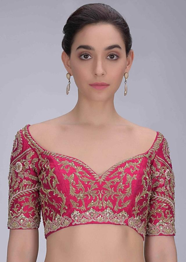 Rani Pink Blouse In Embellished Raw Silk Online - Kalki Fashion