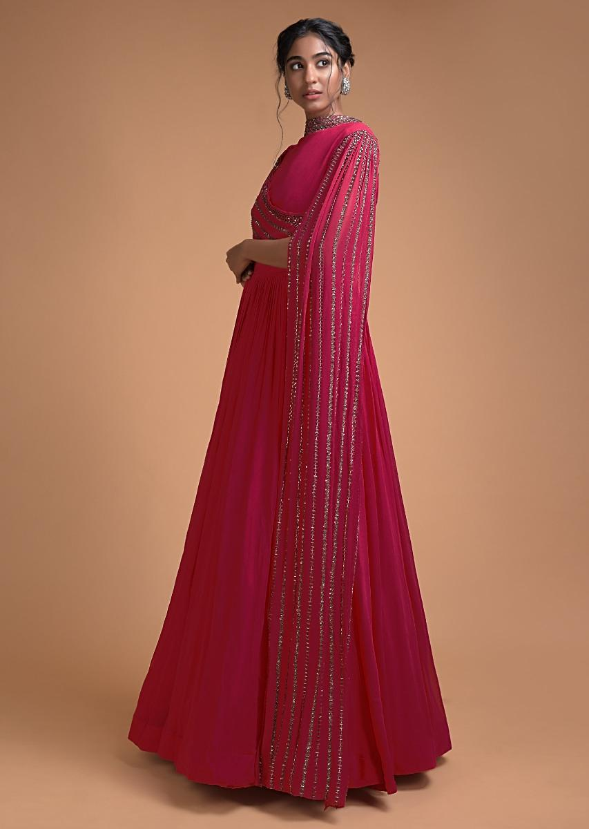 Buy Rani Pink Indowestern Gown With Embellished Drape And Extended Floor Length Sleeve Online Kalki Fashion