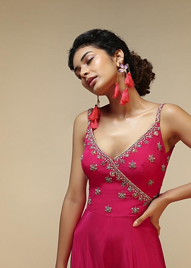 Rani Pink Jumpsuit With An Overlapping Neckline Adorned In Hand Embroidered Buttis Using Cut Dana And Sequins Online - Kalki Fashion