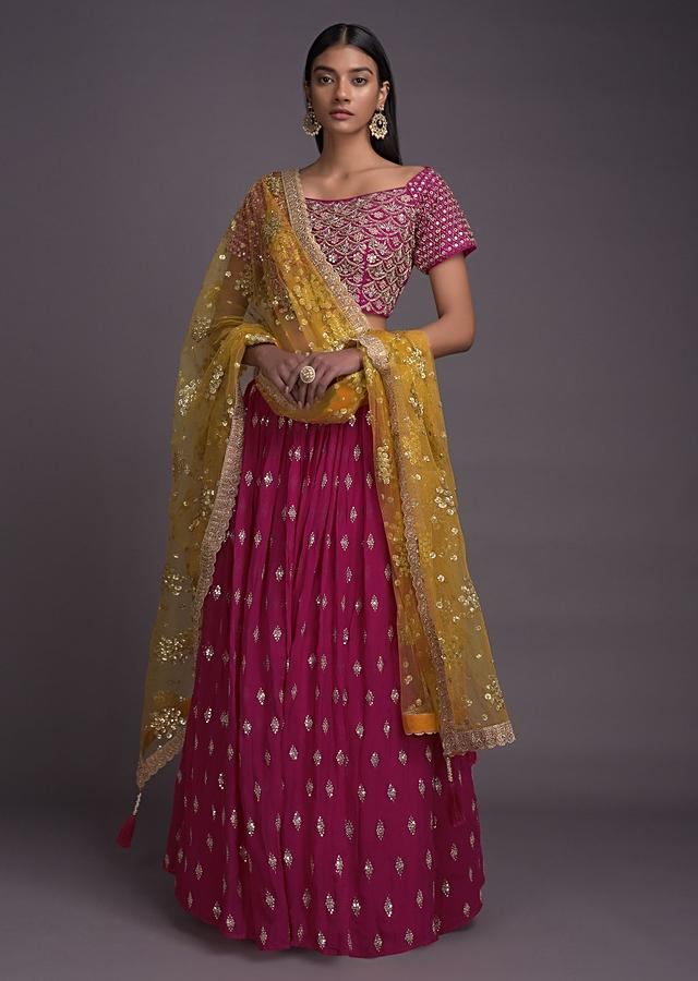 Rani Pink Lehenga And Off Shoulder Choli With  Heavy Scallop Embroidery Online - Kalki Fashion