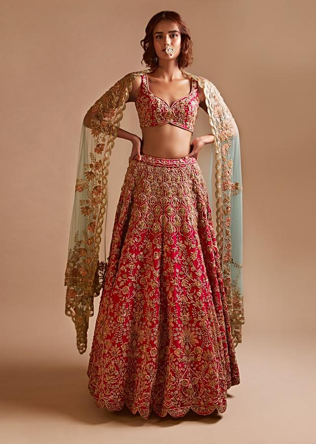Rani Pink Lehenga And Sweetheart Cut Choli In Raw Silk Hand Embroidered With Zardosi And Sequins Work In Moroccan And Floral Jaal Design Online - Kalki Fashion