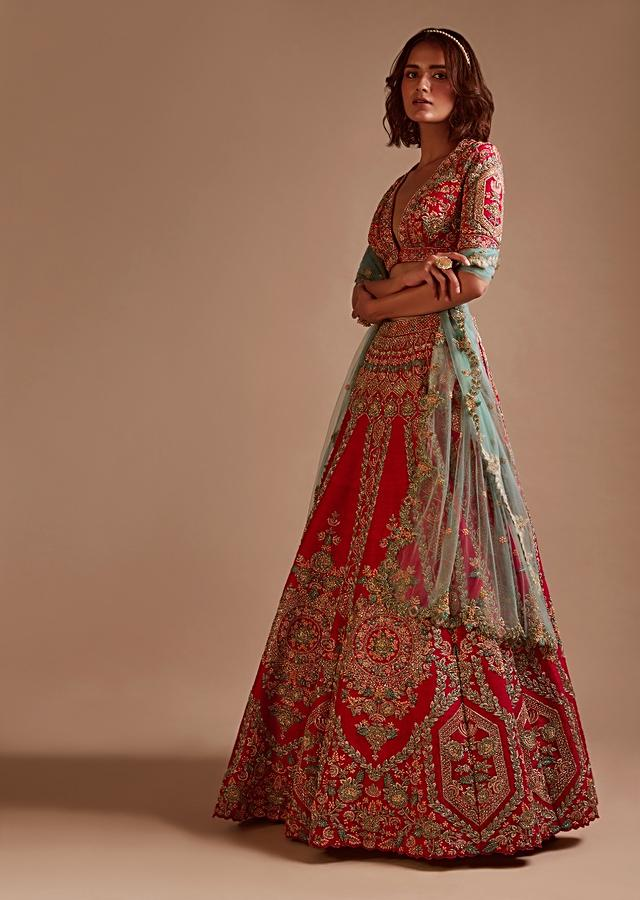 Rani Pink Lehenga Choli In Raw Silk With Hand Embroidered Heritage Floral Kalis Using Colorful Sequins And Beads Online - Kalki Fashion