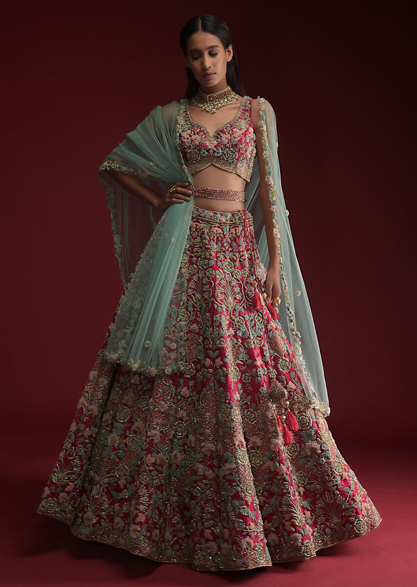 Buy Rani Pink Lehenga Choli In Raw Silk With Heavily Hand Embroidered  Heritage Floral Kalis And 3D Organza Flower Details Online - Kalki Fashion