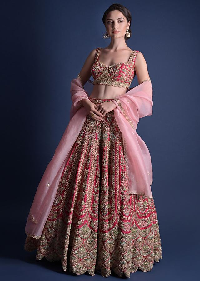Fuschia Rose Lehenga Choli With Heavy Embossed Floral Embroidery In Kali Pattern Online - Kalki Fashion
