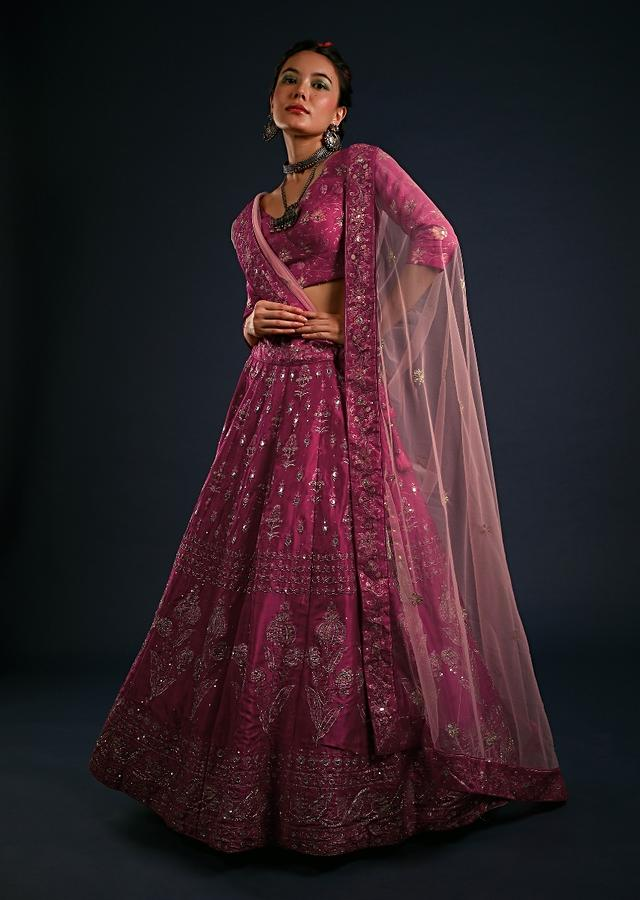 Rani Pink Lehenga In Silk With Foil Printed Floral Motifs And Zari And Sequin Accented With Sequins And Zari Online - Kalki Fashion