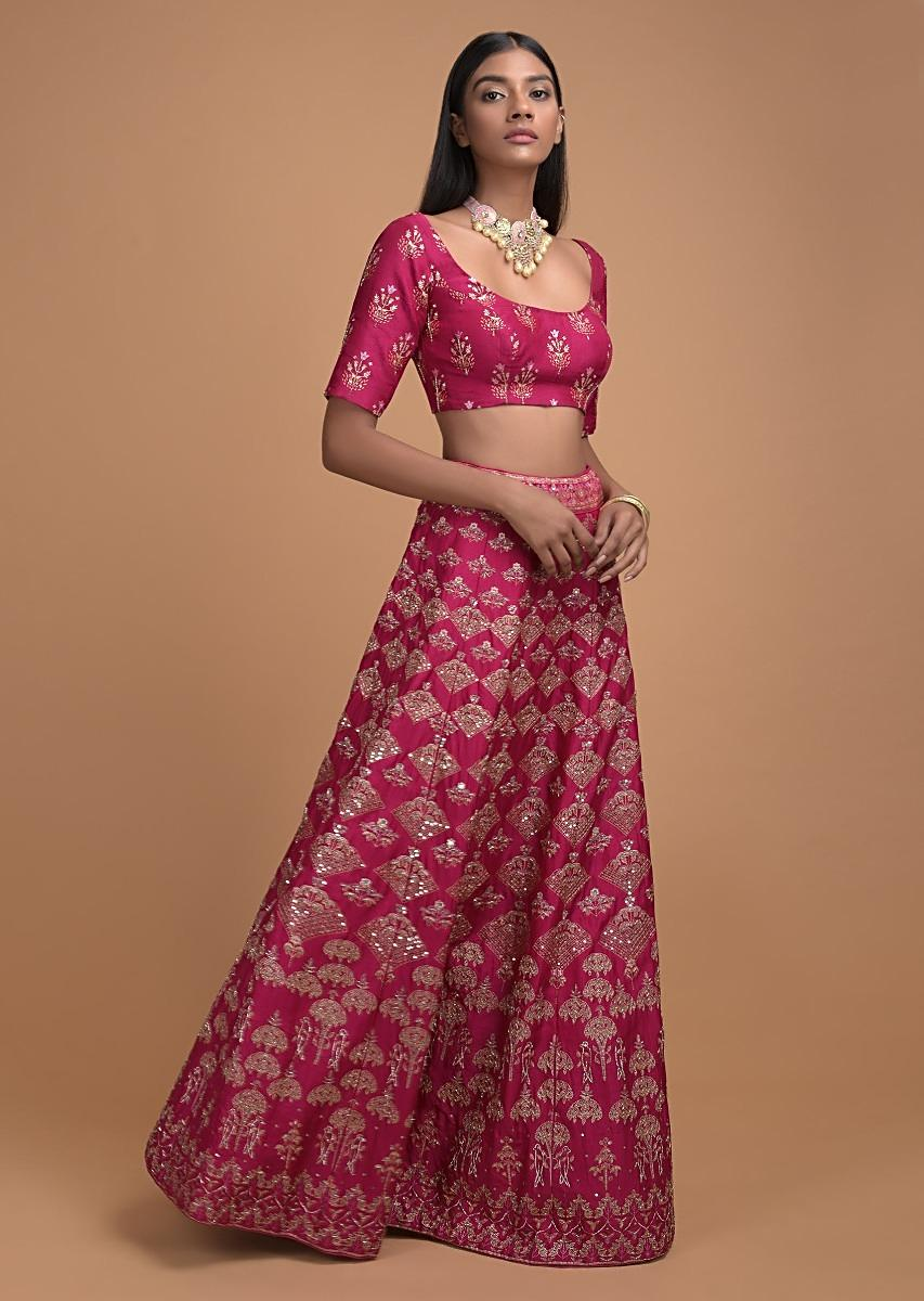 Buy Rani Pink Lehenga With Foil Printed Buttis And Chandelier Motifs Online Kalki Fashion Jazz up your bridal look with blush pink. rani pink lehenga with foil printed buttis and chandelier motifs online kalki fashion