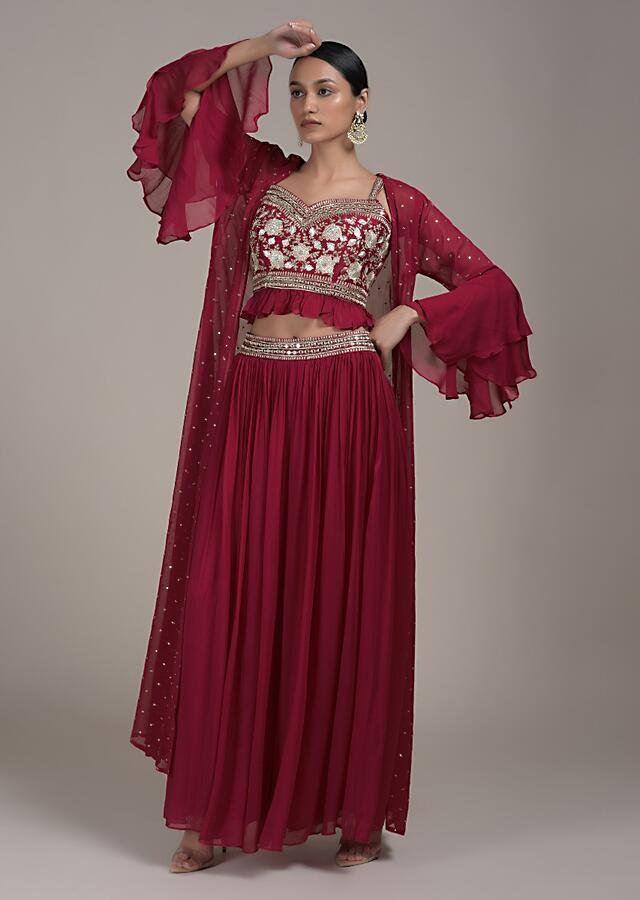 Rani Pink Palazzo Suit In Georgette With Abla And Zari Embroidery And Bell Sleeves Jacket Online - Kalki Fashion