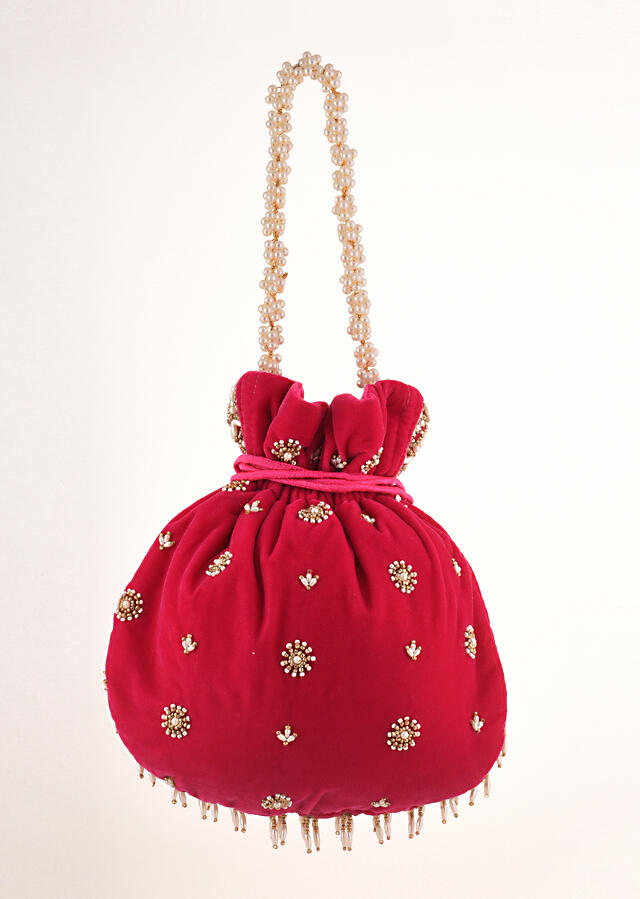 Rani Pink Potli In Velvet Heavily Embroidered With Beads And Moti Work In Scalloped And Tassel Design By Shubham